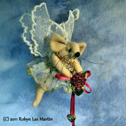 Mouse Fairy with Heart and  Roses Hanging Ornament